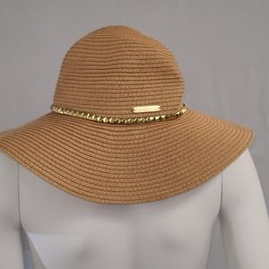 Bebe Floppy Straw Hat with Gold Stud Trim
